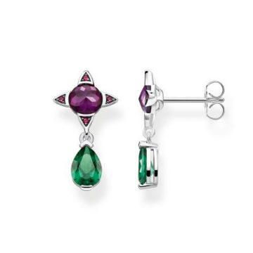 "Thomas Sabo ""green drop with purple stone"" fülbevaló H2073-348-7"
