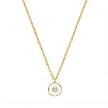 Ania Haie Optic white enamel disc gold nyaklánc N028-01G-W