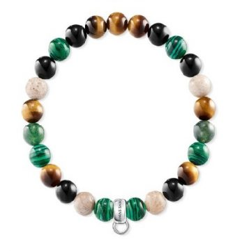 Thomas Sabo Barna, zöld, fehér charm karkötő X0217-947-7