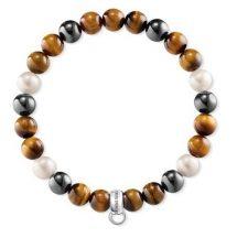 """Thomas Sabo """"barna, fehér, szürke"""" női charm karkötő X0218-948-2"""